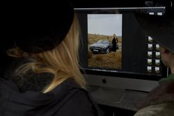 Filmmaker Alex Prager watching Lara Stone and Mercedes SL roadster on set 13.01.2012